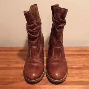 ALDO light brown leather boots, women's size 9